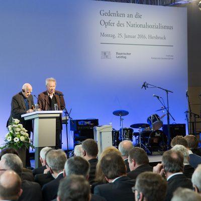 Vittore Bocchetta, ehemaliger Häftling des KZ-Hersbruck und Peter Schön, Verein Dokumentationstätte KZ Hersbruck e.V.