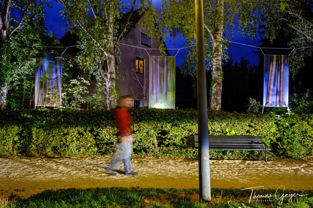 Mensch zur blauen Stunde in Bewegung vor Bildern von bewegten Bäumen die in Bäume gehängt wurden